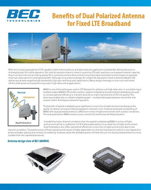 Benefits of Dual Polarized Antenna for Fixed LTE Broadband