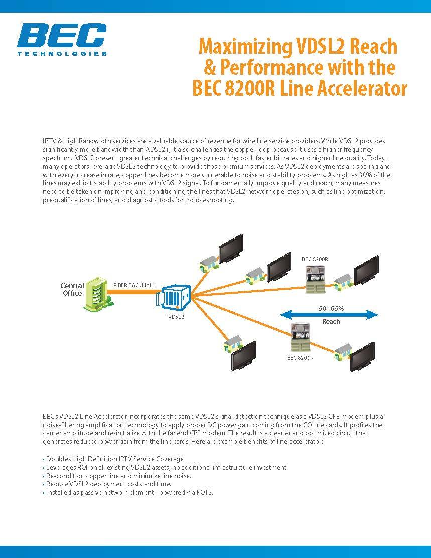 Maximizing VDSL2 Reach & Performance with the BEC 8200R Line Accelerator